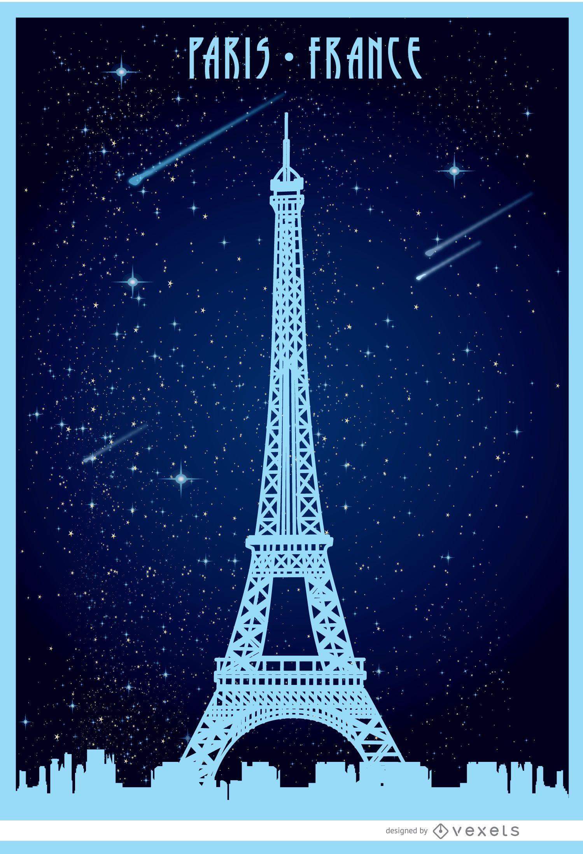 Cartel estrellado de Paris Eiffel