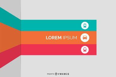 Infografía de lista de rayas dobladas multicolores