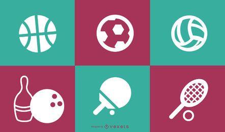 Iconos de deporte cuadrados retro plana