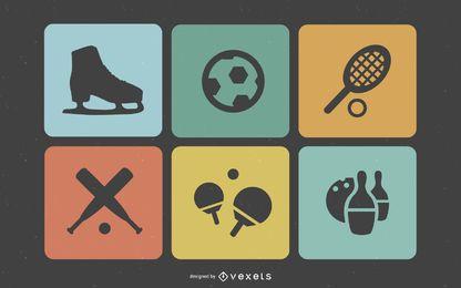 Flat Retro Quadrado Esporte Icons