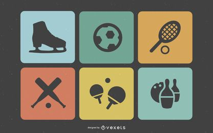 Flat Retro Squared Sport Icons