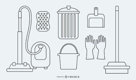 Desenhos animados de utensílios de serviço de limpeza
