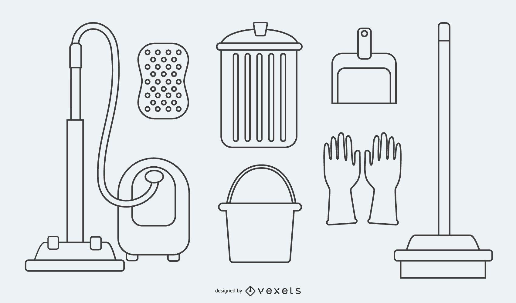 Desenho animado de utensílios de serviço de limpeza