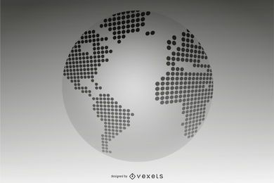 3D Pixel Dotted Map Globe