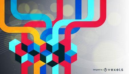 Ondas coloridas 3D fundo de cubos