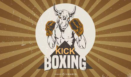 Cartel de boxeo vintage incompleto