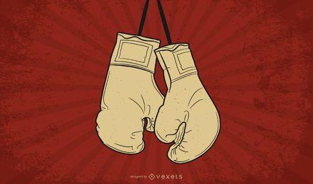 Cartaz de boxe vintage mão desenhada