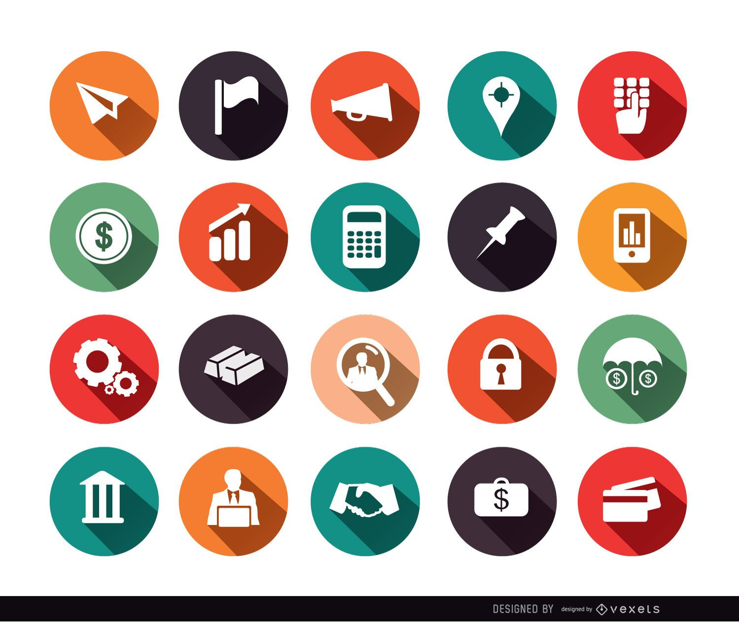 20 iconos de c?rculo financiero