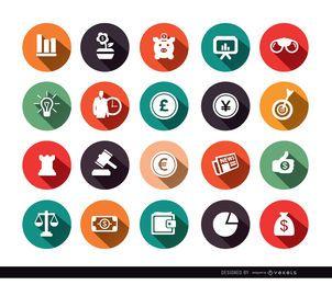 20 iconos de círculo de economía