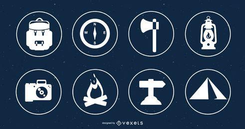 Círculos de conjunto de iconos de camping plana