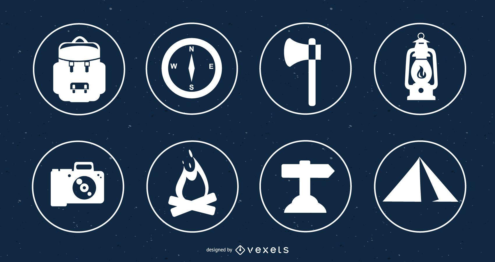 Círculos de conjunto de ícones de campismo planos