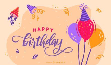 Cartão de mão desenhada aniversário Bunting