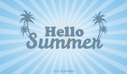 Plantilla de póster de verano brillante hola