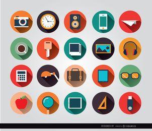 Schreibtischobjekte kreisen Symbole ein