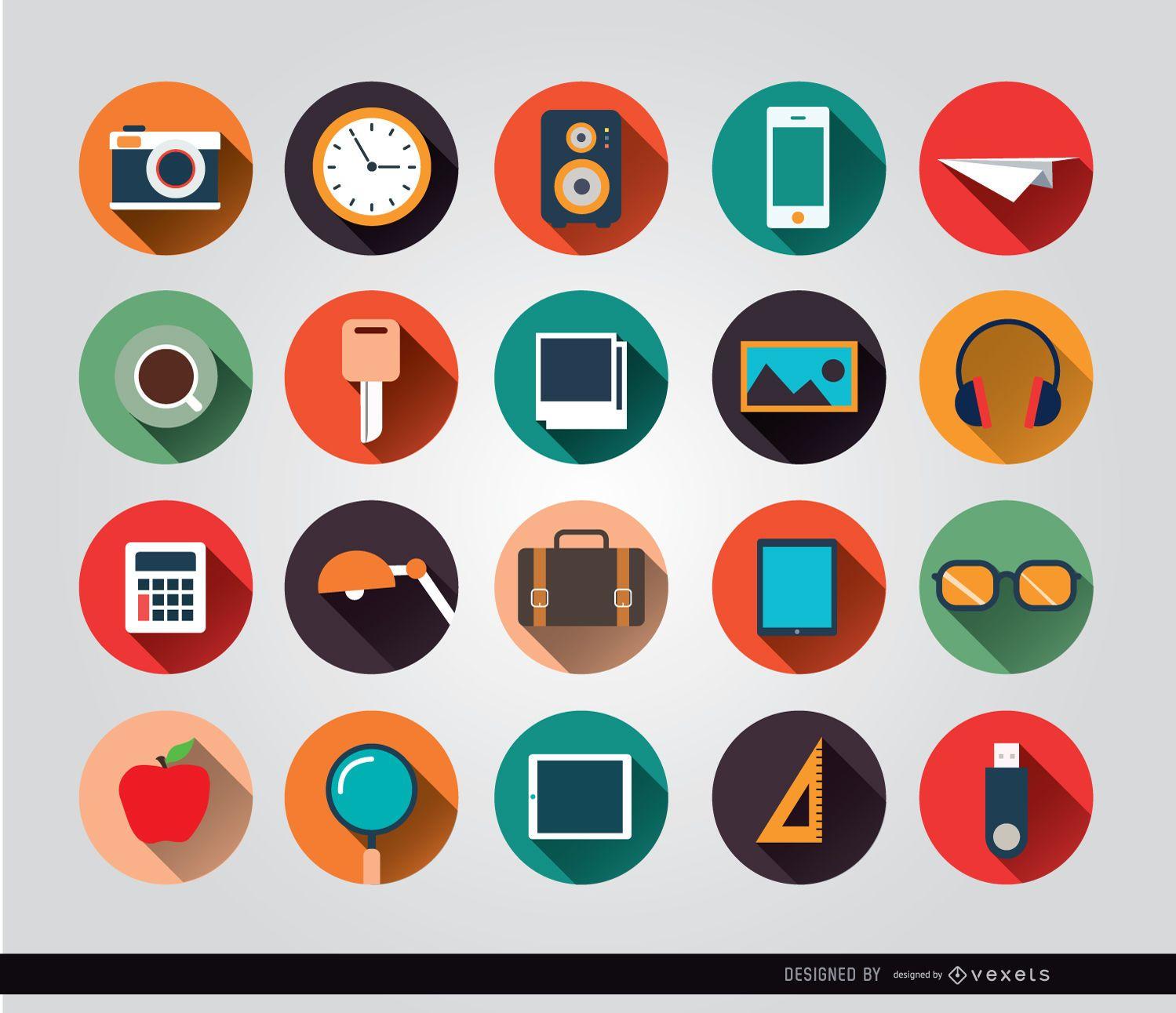 Ícones de círculo de objetos de mesa