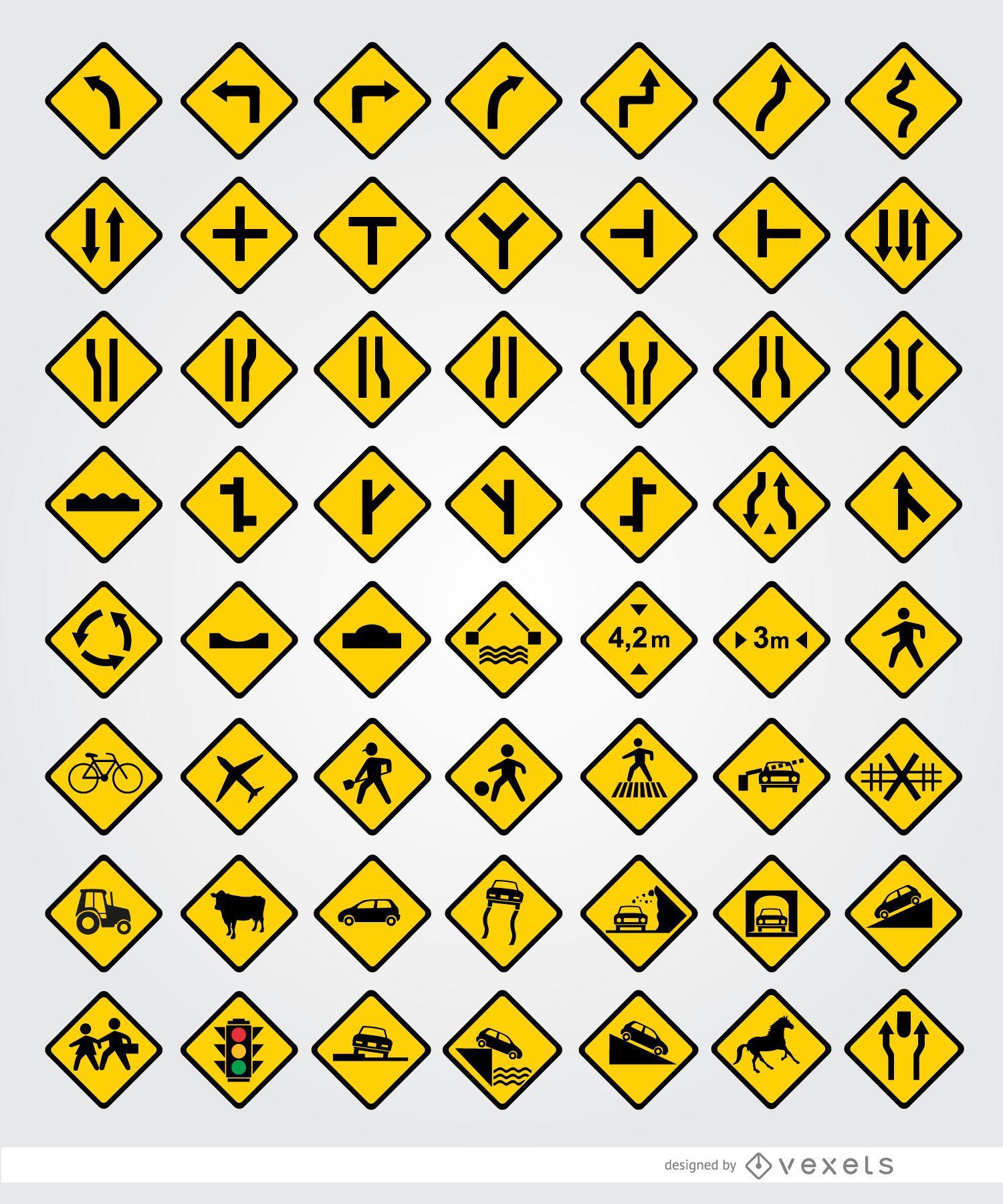 56 road signals set