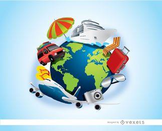 Elementos de viagem do planeta