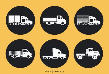Iconos de círculo de camión volquete