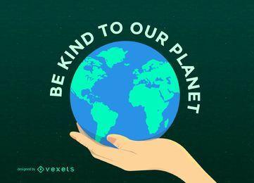 Planeta del Día de la Tierra en mano
