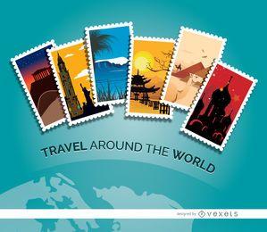 Selos de viagem do planeta