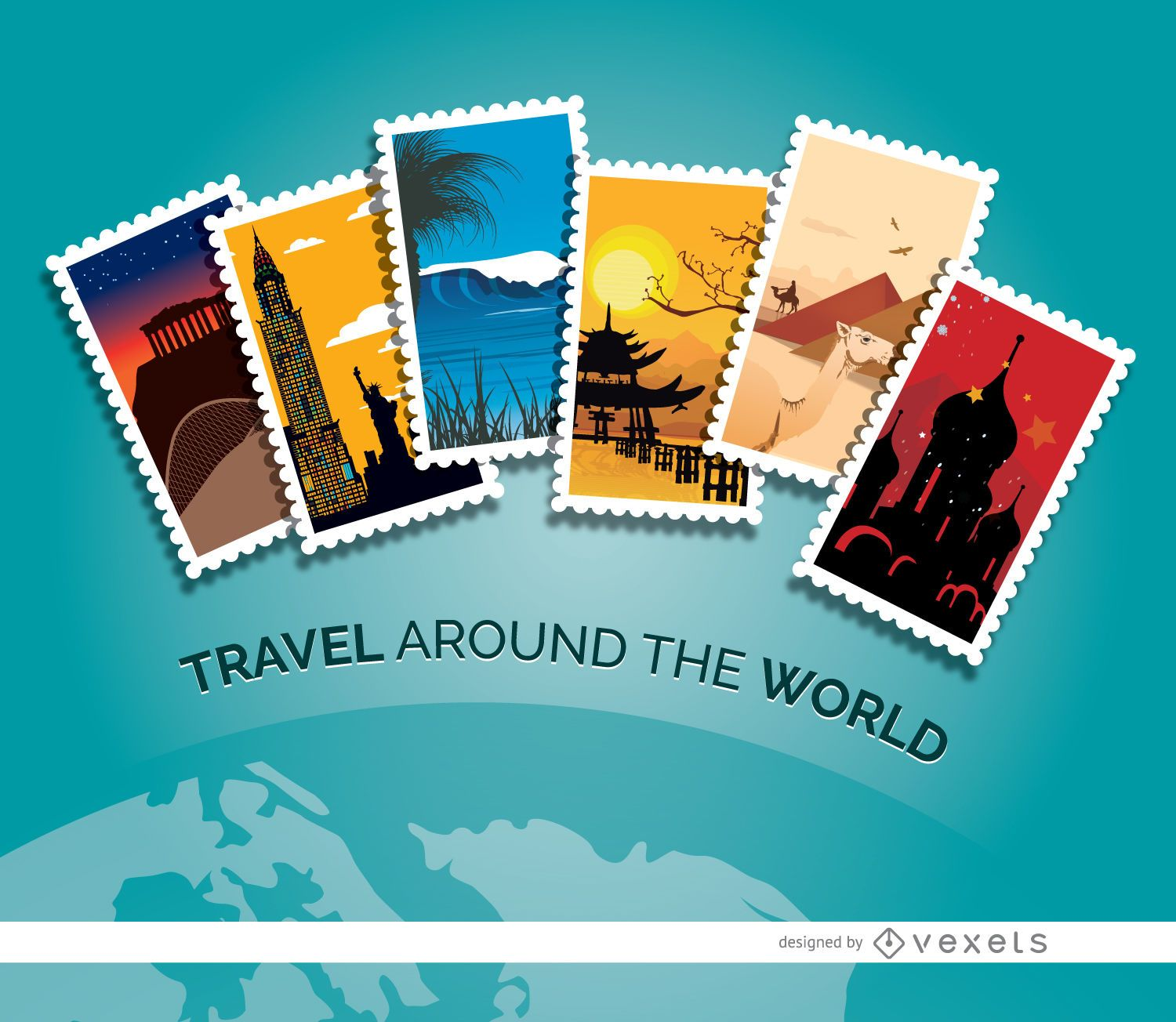 Planet Travel Stamps
