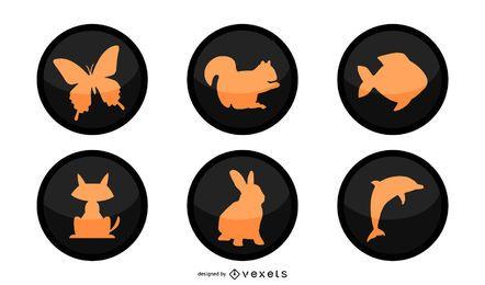 Botões circulares pretos dos animais da silhueta