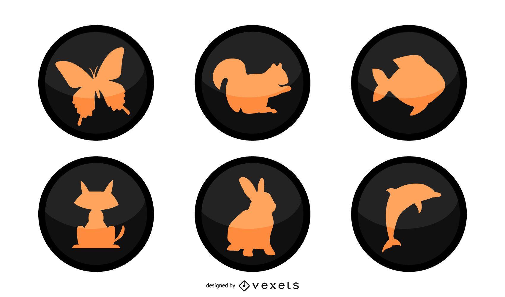 Botones circulares negros silueta animales