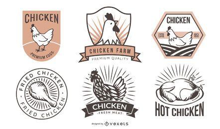 Paquete de etiquetas de pollo frito retro