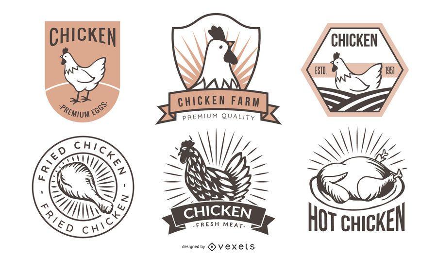 Retro Fried Chicken Label Pack