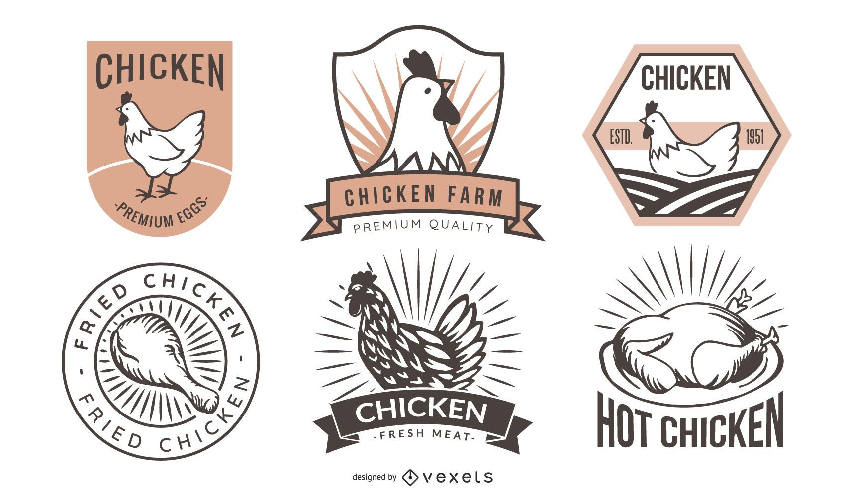 Retro Fried Chicken Label Pack - Vector Download