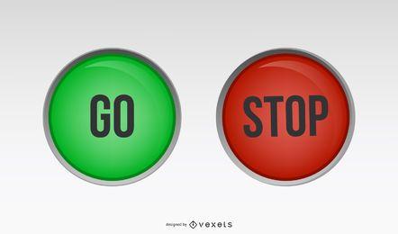Parada verde vermelha vai botons
