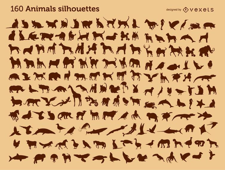 160 animal silhouettes