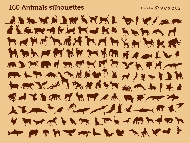 160 animal silhouettes