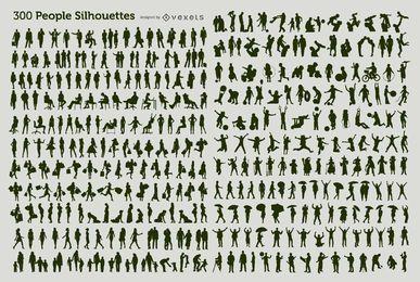 300 personas siluetas