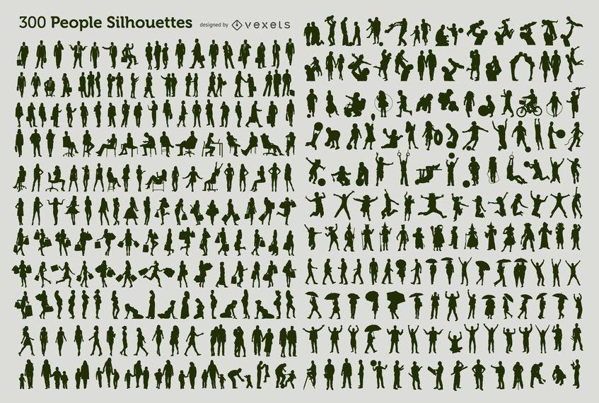 300 Menschen Silhouetten