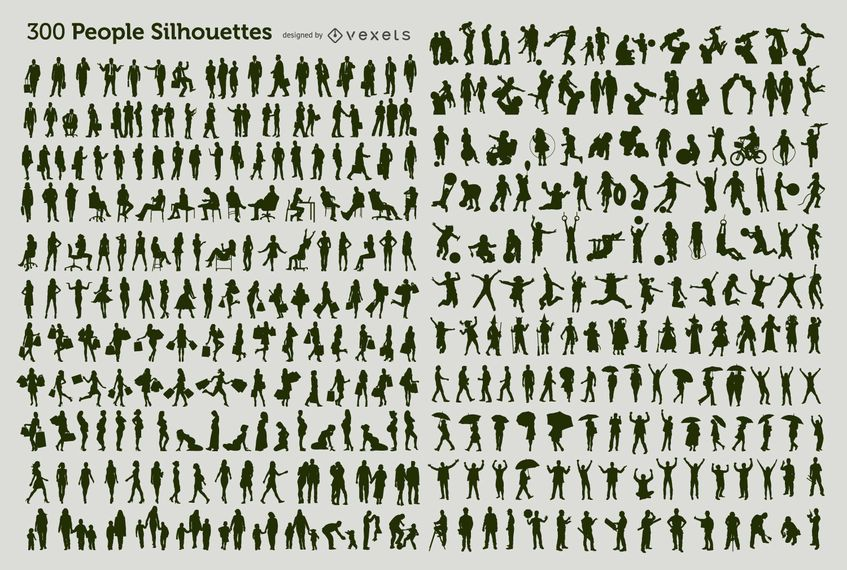 300 people silhouettes