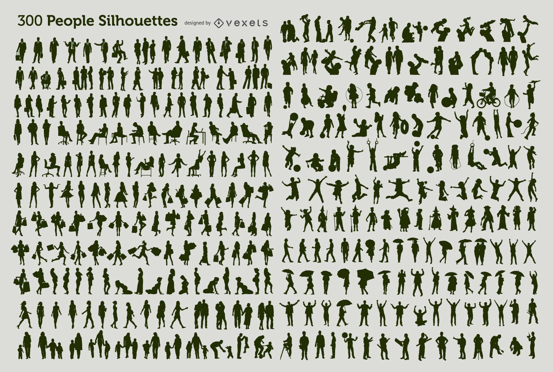 300 Personen Silhouetten