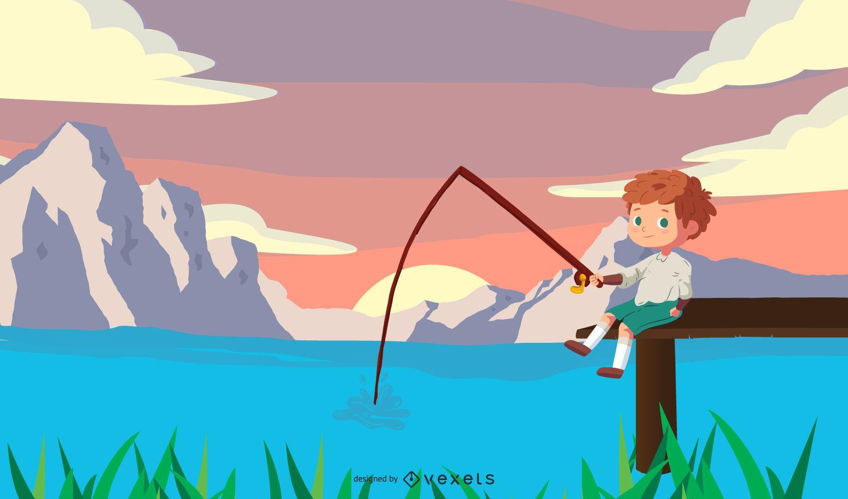 Niño pescando en el lago de dibujos animados