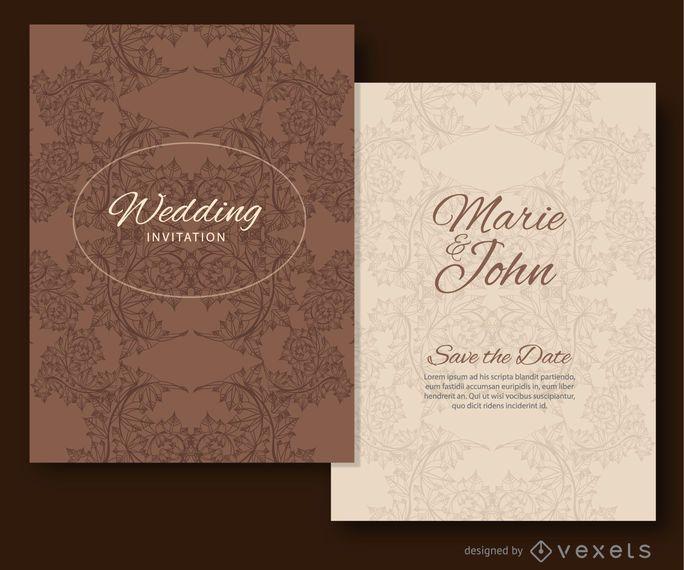 Convite de casamento deixa ornamentos