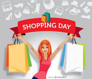 Girl shopping ribbon promo