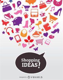 Cartaz de ícones de idéias de compras