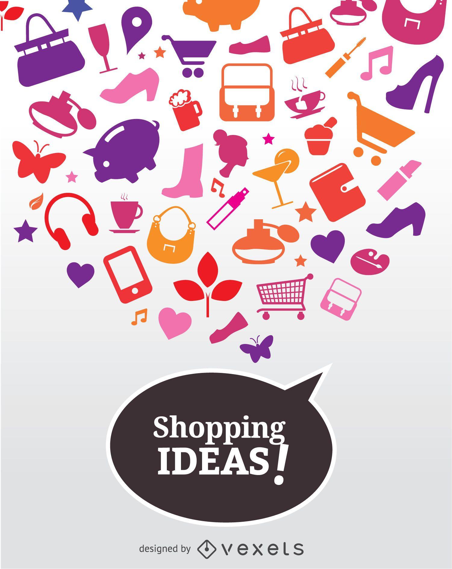 Cartel de iconos de ideas de compras