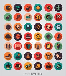 42 Sport elements icon set
