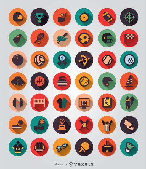 42 Sport elements icon set