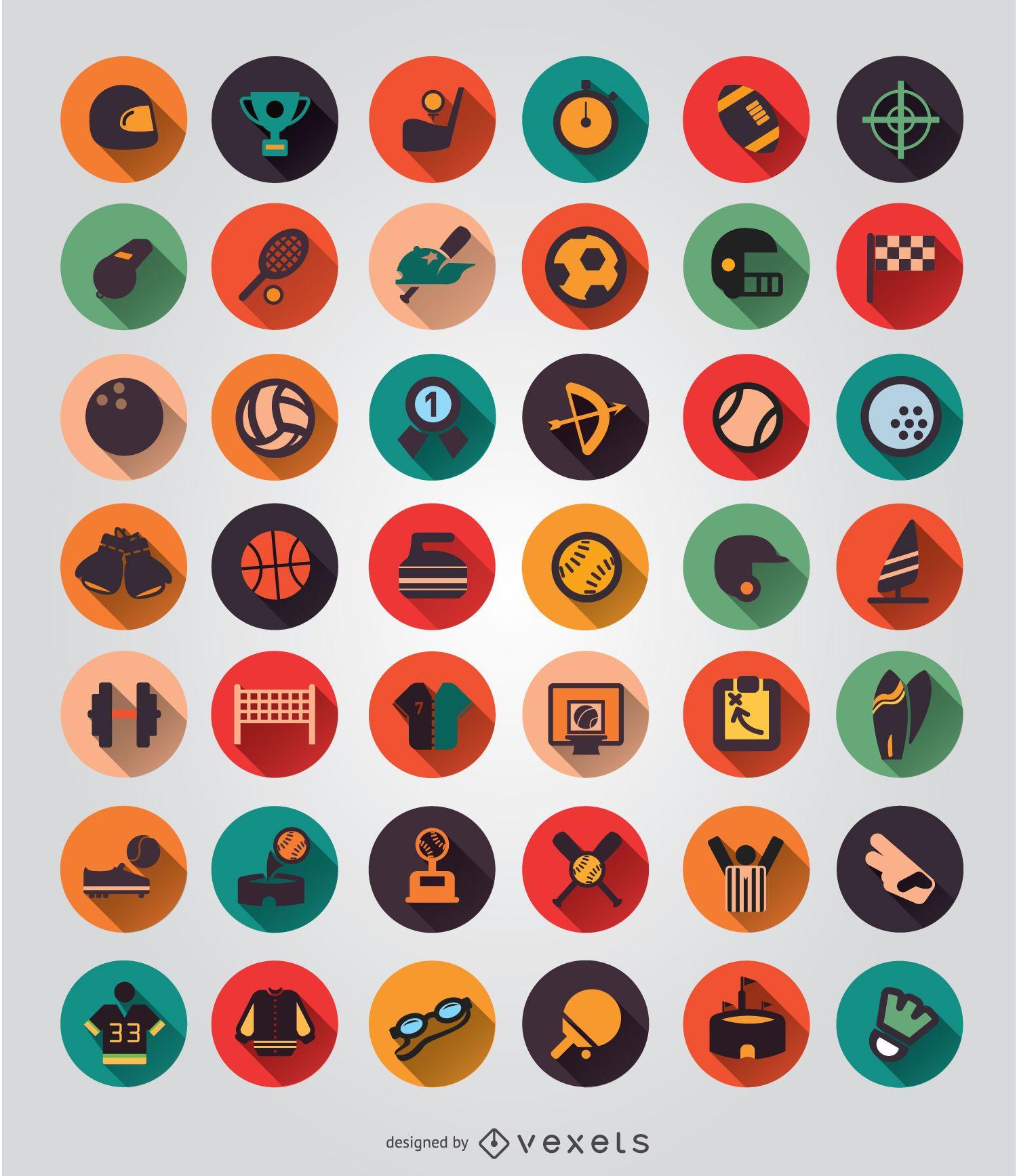 42 conjunto de iconos de elementos deportivos
