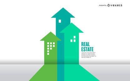 Infografía de edificios de flecha inmobiliaria
