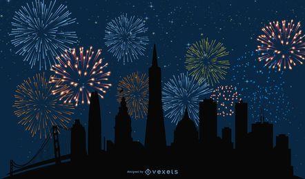Cityscape abstrata com fogos de artifício