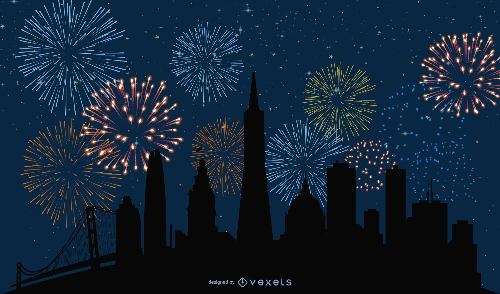 Abstract Cityscape with Fireworks