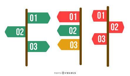 Infografía de navegación con clase de 3 pasos