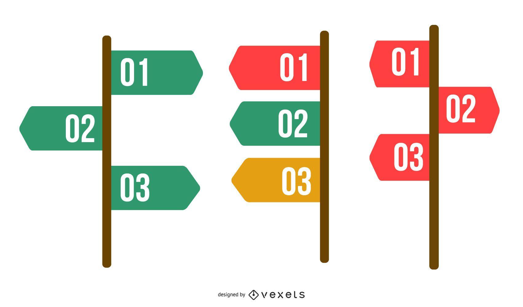 Classy 3 Steps Navigation Infographic